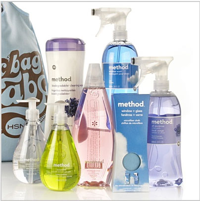 Distinctive packaging of the 'Method' range of homecare products