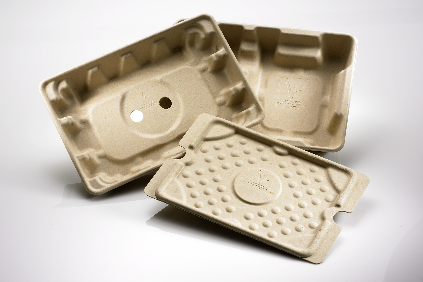 Bamboo transit packaging trays